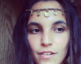 Macrame HEADBAND beautiful tribal headpiece, brass beads hippie headband bohemian style tribal art of goddess