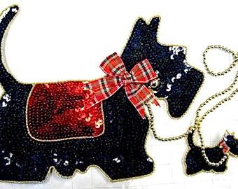 "Choice of Color Scottie Dog Appliqué, Sequin Beaded 11"" x 8""  Gold-B068-B069, Black-S107"