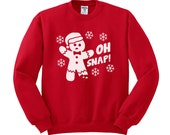 Crewneck - Oh Snap Gingerbread Man (White) - Christmas Sweater Jumper Womens Ladies