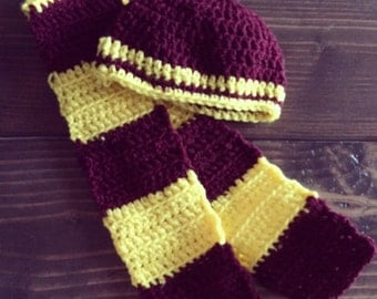 Crocheted Baby Gryffindor scarf and hat