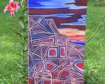 18 in x 36 in Original Oil Abstract Landscape: Red-Set
