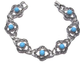 Blue Lady Sarah Coventry Silver Link Bracelet Vintage 70s