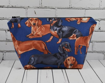 Dachshund Makeup Bag, Sausage Dog Cosmetic Pouch