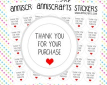 50x Thank You For Your Purchase Stickers Kiss Cut Round Order Heart Cute Sheet Packaging Labels UK United Kingdom . AC1