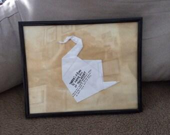 Prison Break Replica- Framed Origami Swan
