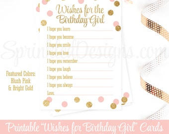 Birthday Wishes for Birthday Girl - Blush Pink Gold Glitter Printable 5x7 Cards for Guests - Birthday Party Printables, Guest Book Keepsake