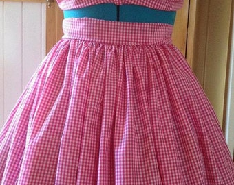 Custom Made Vintage Style Pin-up Rockabilly Pink Gingham Skirt and Top made from Vintage pattern