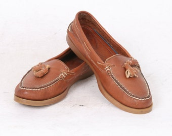 Tan Brown Leather Womens AU 7 US 7.5 M Sperry Casual Tassel Loafers Slip On Boat Flats Vintage Shoes