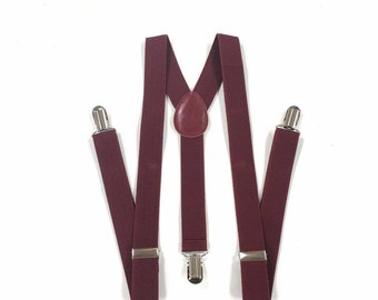 men's suspenders, burgundy suspenders, maroon suspenders, dark wine suspenders, for children and adults