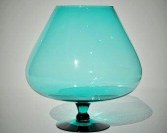 "7"" Vintage Glass Brandy Snifter, Oversized, Murano Italian Empoli, Turquoise Aqua Blue, Hand Blown Goblet Vase, Mid Century, Retro Mad Men"