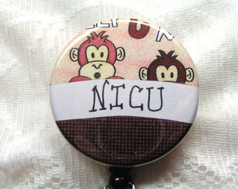 retractable id badges for NICU nurse-will customize to your unit,name badge reel for nurse,NICU nurse gift,NICU badge holder