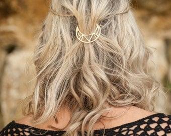 Moon Hair Clip, Gold Hair Clip, Boho Accessory, Boho Hair Accessory,  Boho Hair Comb, Bohemian Hair Clip, Crescent Moon Hair Clip, Hair Pin