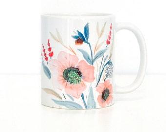 Dancing Flowers Coffee Mug, 11oz and 15oz available, Dancing Flowers Coffee Mug Ceramic Coffee Mug Perfect Bridesmaid Gift Idea