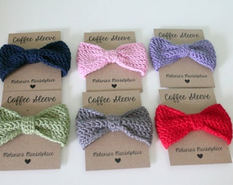 Crocheted Bow Coffee Sleeve- Custom Colors