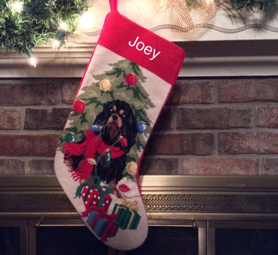 Black & Tan Cavalier King Charles Christmas Stocking-Personalized Christmas stockings, Cavalier stocking, dog stocking, Christmas stocking[BABarkerGifts/Etsy]