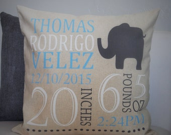 Personalized birth pillow cover, birth Announcement pillow cover, birth stats pillow, baby boy birth pillow, blue and gray, 18x18, CUSTOMIZE