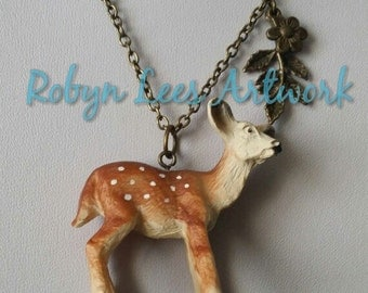 Large 3D Resin Deer Fawn Doe Necklace with Bronze Leaves and Flower on Bronze Crossed Chain, Nature