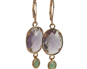 Aqua and Amethyst Earrings, Rose Gold Jewelry, Mint and Purple drop Earrings, February Birthstone Birthday Gift, Amethyst Rose Gold Earrings