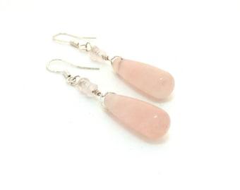 Rose quartz earrings ~ Pink earrings ~ Dangle earrings ~ Teardrop earrings ~ Long earrings ~ Sterling silver jewelry ~ Gift idea for her