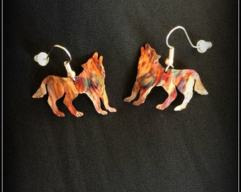 wolf earrings, wolf jewelry, flame painted copper, fire torched copper, howling wolf, pacific west coast, made in Canada, cry of the wolf