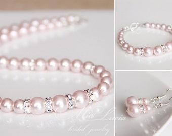 Blush Bridal Jewelry Set, Blush Pearl Bridal Jewelry Set Necklace Earrings Bracelet SET Pink Wedding Jewelry set Rose Bridal set e39-b02-n02