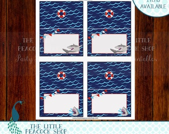Sharks food tent labels foldable printable and digital file | Shark Ocean Waves Jaws Birthday Party