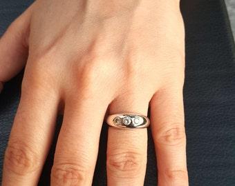 0.24 ct. Real Diamond 14k Solid Gold Tria Vintage Wedding engagement Tria ring, Vintage 3 stone, 14k Gold Wedding ring, Diamond ring,