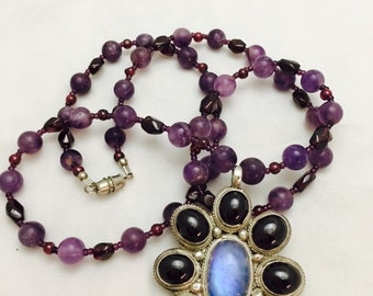 Vintage Amethyst and Moonstone Beaded Floral Sterling Silver Necklace