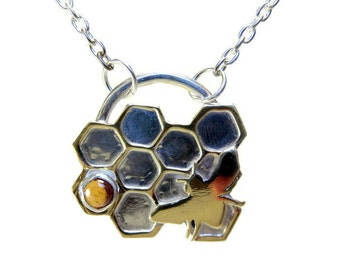 Bee-good Necklace, Sterling Silver, Brass, and Citrine, Handcrafted, Beekeeper's Honeycomb and Bee Necklace