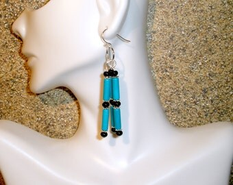 Southwest Style Beaded Dangle Earrings Black Teal Jewelry Women's Fashion Earrings Free Shipping Gift for Her