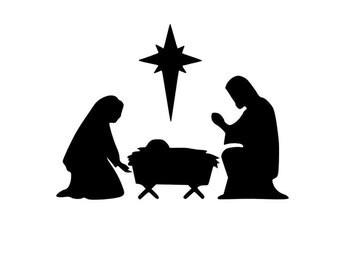 Nativity Manger Scene, Vinyl Christmas Decoration, Vinyl Manger Decal, Christmas Decal, Vinyl Nativity Scene, Baby is Born, Christ is Born
