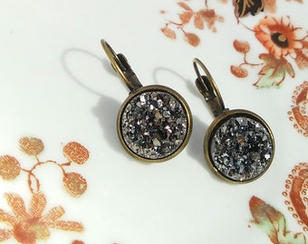 Sparkly Earrings Smokey Silver & Grey Resin Cameo Drop Gem Gemstone Druzy Geode Round Sparkling 12mm Cameo Jewellery Gift