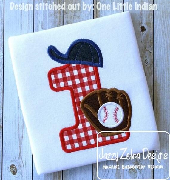Baseball one Appliqué embroidery Design - Softball one Appliqué embroidery Design - 1st birthday appliqué design - one - birthday appliqué
