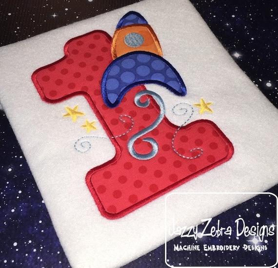 Rocket Ship One Appliqué Embroidery Design - 1st birthday appliqué design - one - first birthday appliqué design - birthday appliqué design