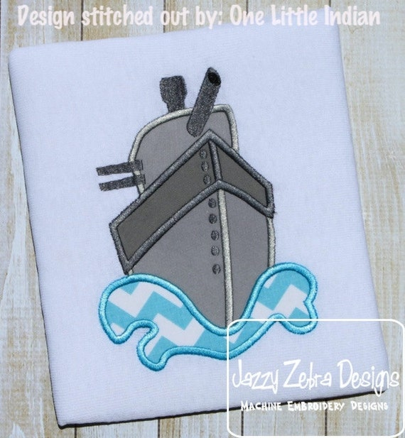 Battleship Appliqué Embroidery Design - military appliqué design - ship appliqué design - battle ship appliqué design - boy appliqué design