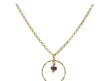 Garnet hoop Gold plated Silver Necklace