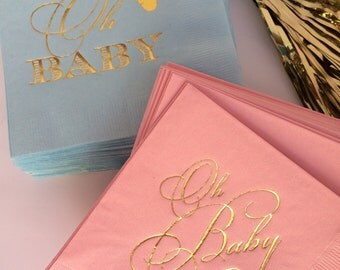 50 Personalized Napkins Boy or Girl Oh Baby Shower Gender Reveal Baby Cocktail Beverage Paper Party Pink Blue Napkins Metallic Gold Foil