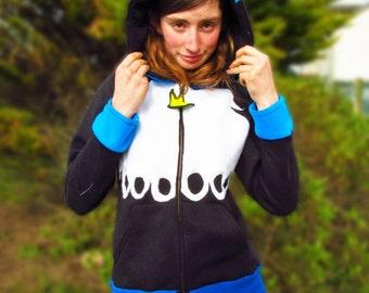 Custom Penguin Hoodie! Blue White Black & Yellow Fleece Details With Pointy Hood! Hoody Anime Cosplay Hooded Top Cute Colour Pockets Fleece