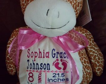 Personalized Birth Announcement  Stuff Animal
