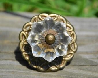 Vintage glass knob/antique glass knob/clear melon knob/antique brass knob/glass cabinet knob/antique cabinet knob/antique drawer pull