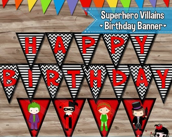 Superhero Villains Birthday Banner, Joker Harley Quinn Poison Ivy Penguin Batman Villains Birthday Banner: PDF Digital File INSTANT DOWNLOAD