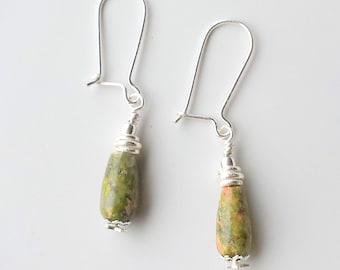 Unakite Earrings, Green earrings, Earthy earrings, Simple earrings, Silver earrings, Gemstone earrings, Boho earrings
