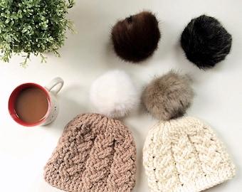Toddler Cabled Pom hat, faux fur pompom, winter hat