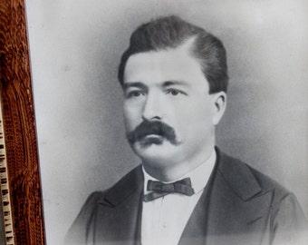 Mustache man antique portrait - French vintage photo, Picture frame, Black and white portrait, Vintage photograph, Framed portrait. D316