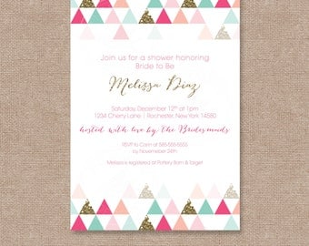 Triangle Patterned Modern Printable Bridal/Baby Shower Invite