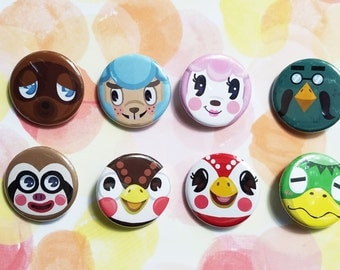 Animal Crossing Nintendo Button Set Tom Nook Blathers Kapp'n