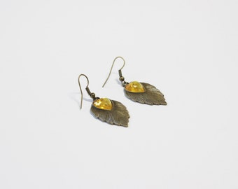 Leaf Yellow Heart Earrings