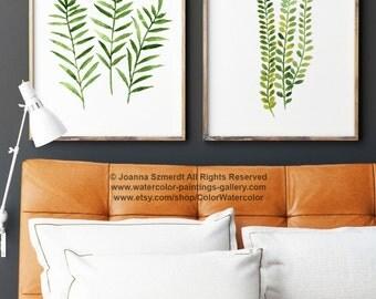 Fern Print Green Botanical Art, Set of 2 Ferns Watercolor Painting, Nature Wall Decor, Green Home Decoration, Home Garden Illustration