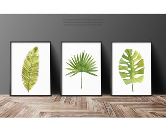 Watercolor Leaf Abstract Wall Decor, Minimalist Modern Painting, Palm Leaves Print Green Wall Decor, Botanical Tropical Art, Plant Poster