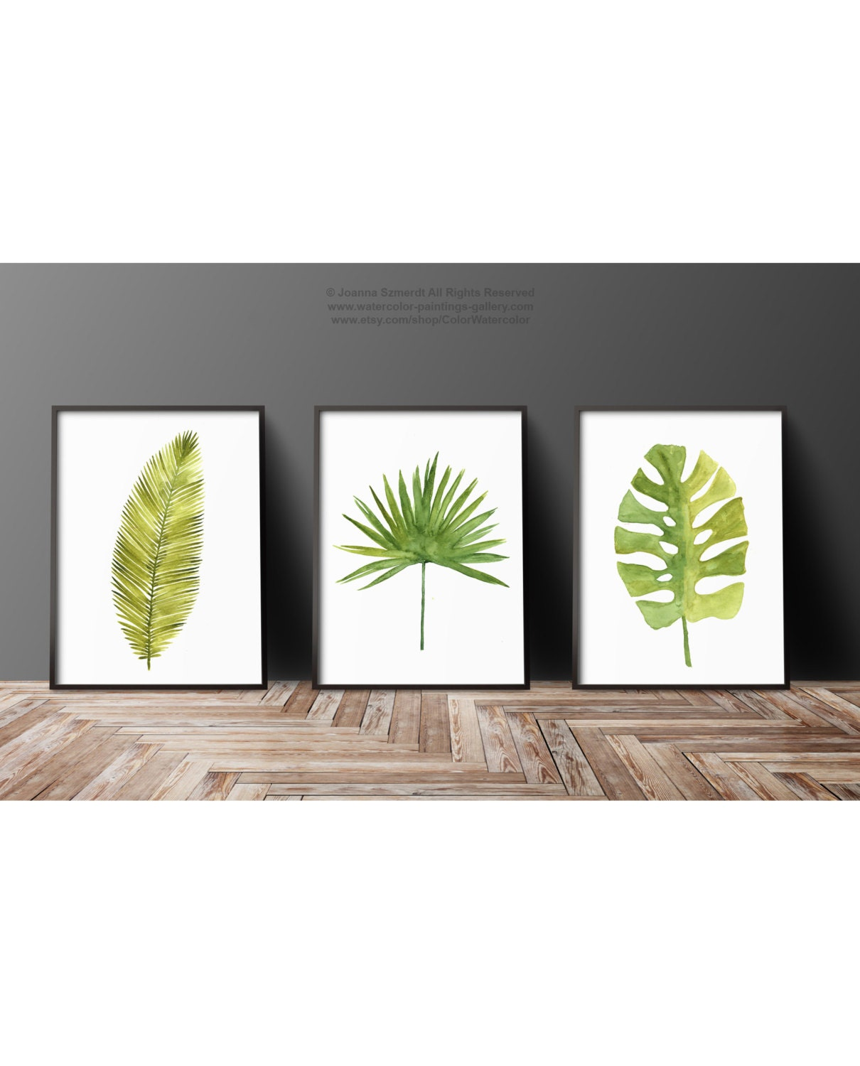 Watercolor leaf abstract wall decor minimalist modern for Leaf wall decor